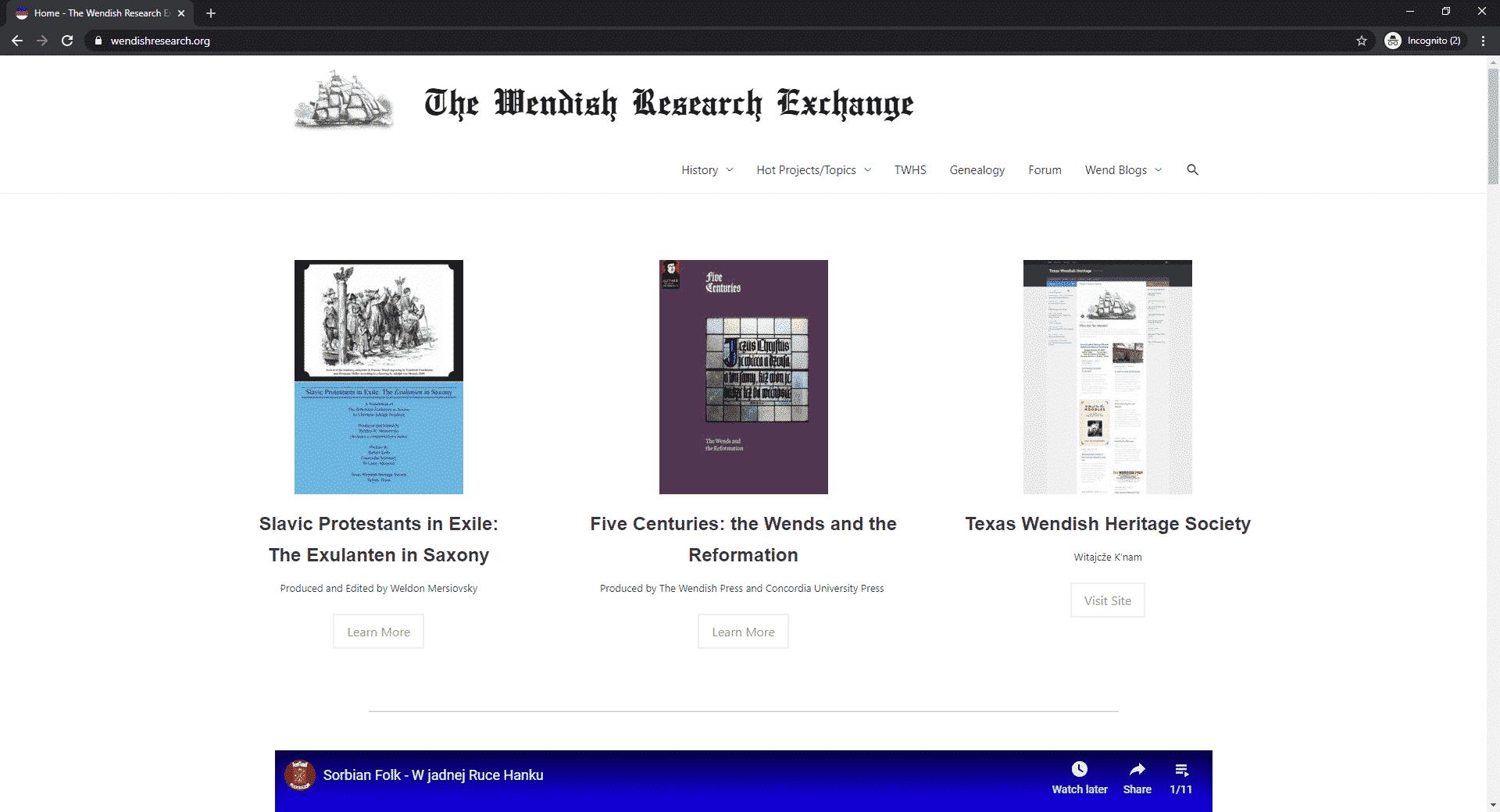 Screenshot of wendishresearch.org